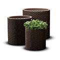 S+m+l cylinder planters műrattan virágcserép szett - whiskey barna