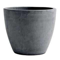 Beton XL műanyag kerek virágláda (53 cm) - sötétszürke