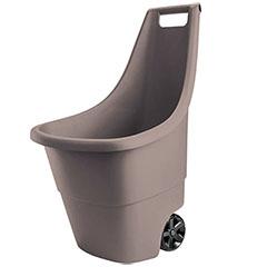 Easy Go! - műanyag kerti talicska (50L) - Barna színű, kerekes fűgyűjtő