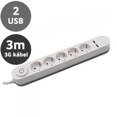 Hosszabbító 5-ös elosztóval (5 földelt + 2 USB) fehér - 3 m vezetékkel