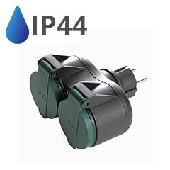 Kültéri kettes fali elosztó (IP44) fekete-zöld