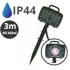 Kültéri leszúrható kettes elosztó (IP44) fekete-zöld, 3 méteres vezetékkel, időzítővel