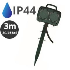 Kültéri leszúrható négyes elosztó (IP44) fekete-zöld, 3 méteres vezetékkel