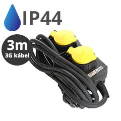 Kültéri négyes elosztó (IP44) fekete-sárga, 3 méteres vezetékkel