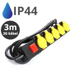 Kültéri ötös elosztó (IP44) fekete-sárga, 3 méteres vezetékkel