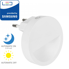 Éjszakai irányfény LED lámpa (0.45W - kör) fényérzékelővel, meleg fehér, Samsung Chip