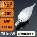 LED lámpa E14 (6Watt/200°) Láng - természetes fehér