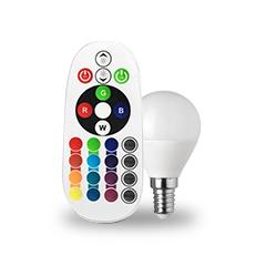 LED lámpa E14 (3.5W/180°) Kisgömb - RGB+CW+RF távirányítható