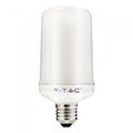 E27 LED lámpa (4W/300°) Rúd - meleg fehér, mozgó láng effekt (1800K)