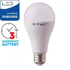 E27 LED lámpa (9W/200°) Körte A70 - hideg fehér, beépített akkumulátorral, PRO Samsung