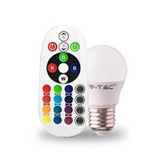 LED lámpa E27 (3.5W/180°) Kisgömb - RGB+CW+RF távirányítható