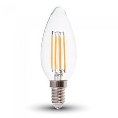 E14 LED izzó Retro filament (6W/300°) Gyertya - természetes fehér