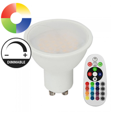 LED lámpa GU10 (3.5W/110°) RGB + hideg fehér, dimmelhető