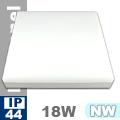 Kültéri opál mennyezeti LED lámpa négyzet (18 Watt) - term. fehé