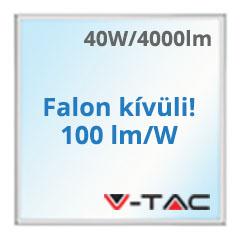 LED panel (600 x 600mm) 40W - hideg fehér, süllyeszthető / falon kívüli (100+lm/W) A+