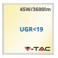 LED panel (600 x 600mm) 45W - meleg fényű UGR<19