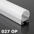 ALP-027 Aluminium függeszthető profil ezüst, LED szalaghoz, opál burával