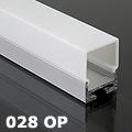 ALP-028 Aluminium függeszthető profil ezüst, LED szalaghoz, opál burával