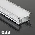 ALP-033 Aluminium U profil ezüst, LED szalaghoz, lépésálló, PC diffúz burával