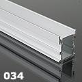 ALP-034 Aluminium U profil ezüst, LED szalaghoz, lépésálló, PC diffúz burával