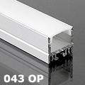 ALP-043 Aluminium hűtőbordás U profil, LED szalaghoz, opál burával
