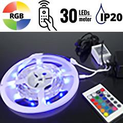 LED szett beltéri: 5 méter RGB+vezérlő+tápegység 5050-30