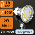 LED lámpa GU10 (COB2835x18/5Watt/120°) hideg fehér