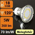 LED lámpa GU10 (COB2835x18/5Watt/120°) meleg fehér