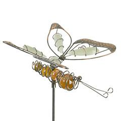 Lucily Pillangó fém kerti dísz , földbe szúrható, foszforeszkáló, gyanta színű testtel