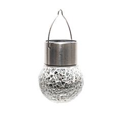 Lightis függő szolár LED lámpa - ezüst szín, mozaik üveg