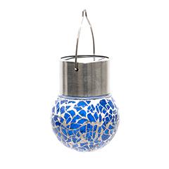 Lightis függő szolár LED lámpa - sötétkék szín, mozaik üveg