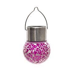 Lightis függő szolár LED lámpa - lila szín, mozaik üveg