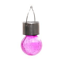 Lightis függő szolár LED lámpa - lila szín, törött üveg hatású