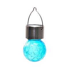 Lightis függő szolár LED lámpa - világoskék szín, törött üveg hatású