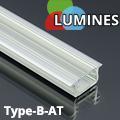 Type-B - Aluminium süllyeszthető U profil LED szalaghoz, átlátszó burával