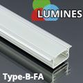 Type-B - Aluminium süllyeszthető U profil LED szalaghoz, félig átlátszó burával