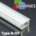 Type-B - Aluminium süllyeszthető U profil LED szalaghoz, opál burával