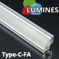 Type-C - Aluminium sarokprofil LED szalagos világításhoz, félig átlátszó burával
