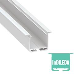 inDILEDA - Aluminium U profil LED szalagos világításhoz 39x26mm, süllyeszthető, opál PMMA burával