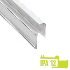 IPA12 - Aluminium profil LED szalagos világításhoz 20x44mm, gipszkarton élvilágító, opál burával