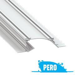 PERO - Alumínium süllyesztett gipszkarton profil 124x36mm, LED szalagos világításhoz, opál PMMA burával