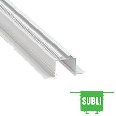 SUBLI - Aluminium U profil LED szalagos világításhoz 54x28mm, süllyeszthető, opál PMMA burával