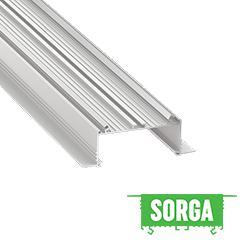 SORGA - Aluminium U profil LED szalagos világításhoz 118x44mm, gipszkartonba süllyeszthető, opál PMMA burával