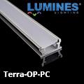 Terra - Burkolatba építhető alumínium profil LED szalaghoz, opál (PC) burával