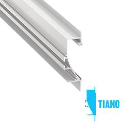 TIANO - Alumínium profil LED szalagos világításhoz 22x72mm, parkettaszegély világításhoz, opál burával