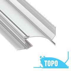TOPO - Alumínium süllyesztett gipszkarton profil 105x50mm, LED szalagos világításhoz, opál PMMA burával