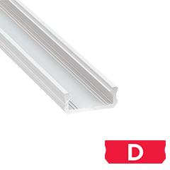 Type-D - Aluminium U profil LED szalagos világításhoz 16x6 mm, opál burával