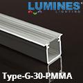 Type-G - Alu süllyeszthető U profil LED szalaghoz, átlátszó 30° PMMA burával