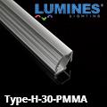 Type-H - Pultvilágításhoz alu sarokprofil LED szalaghoz, 30° lencsés PMMA bura