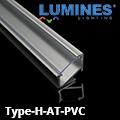 Type-H - Pultvilágításhoz alu sarokprofil LED szalaghoz, átlátszó burával